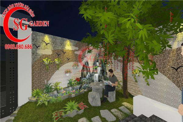 Thiết kế sân vườn biệt thự nhà anh Dân Tân Phú 4