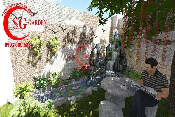 Thiết kế sân vườn biệt thự nhà anh Dân Tân Phú 5
