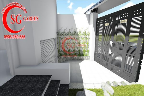 Thiết kế sân vườn biệt thự nhà anh Dân Tân Phú 6