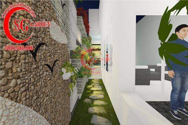 Thiết kế sân vườn biệt thự nhà anh Dân Tân Phú 9