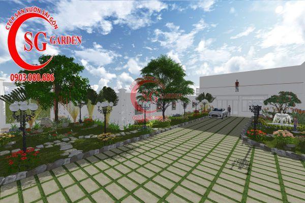 Thiết kế sân vườn chị Lan Bình Dương 1