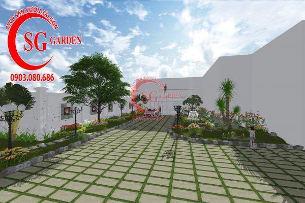 Thiết kế sân vườn chị Lan Bình Dương 2