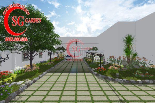 Thiết kế sân vườn chị Lan Bình Dương 3