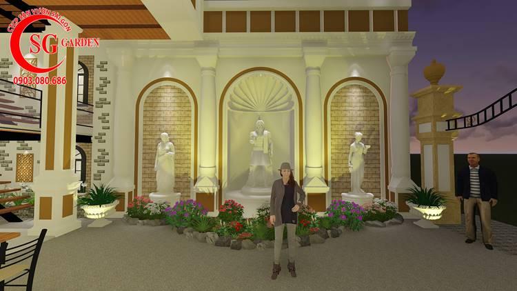 Thiết Kế Sân Vườn Nhà Hàng Phong Cách Châu Âu 2