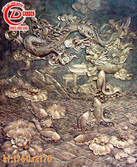 Tranh Phù Điêu Cá Chép Vượt Vũ Môn Hóa Rồng 1