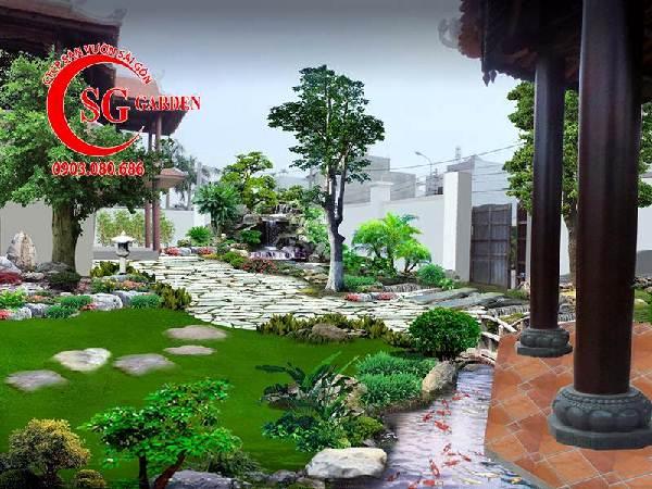 sân vườn biệt thự nhiều cây xanh 2