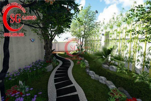 sân vườn biệt thự nhiều cây xanh 5