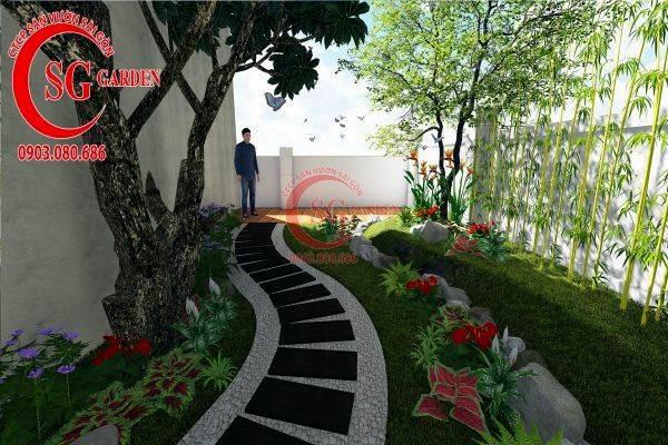 sân vườn biệt thự nhiều cây xanh 6