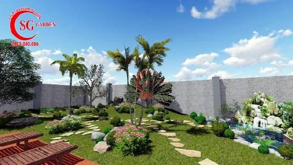 sân vườn biệt thự nhiều cây xanh 9