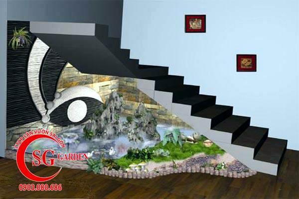 tiểu cảnh gầm cầu thang hồ cá koi 1