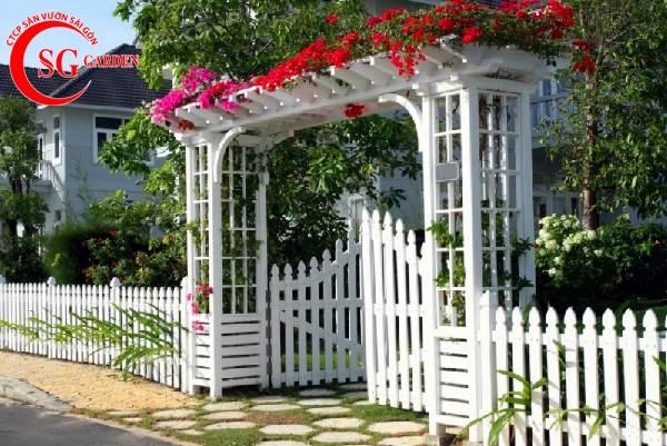 hàng rào gỗ sơn trắng