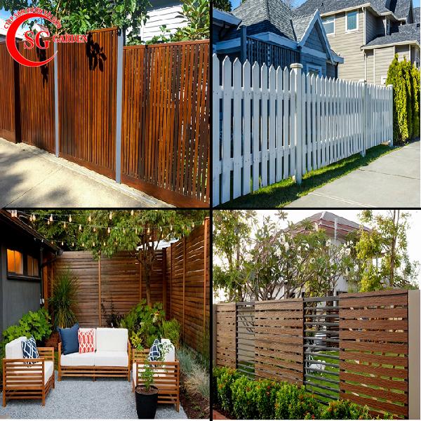 hàng rào xi măng gỗ