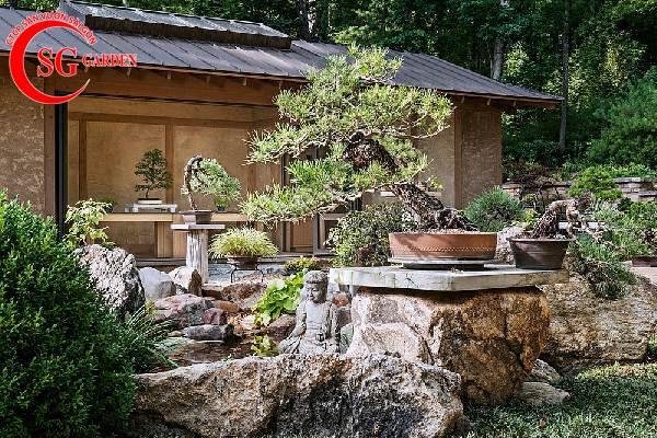 sân vườn trước nhà phong cách Trung Quốc 1