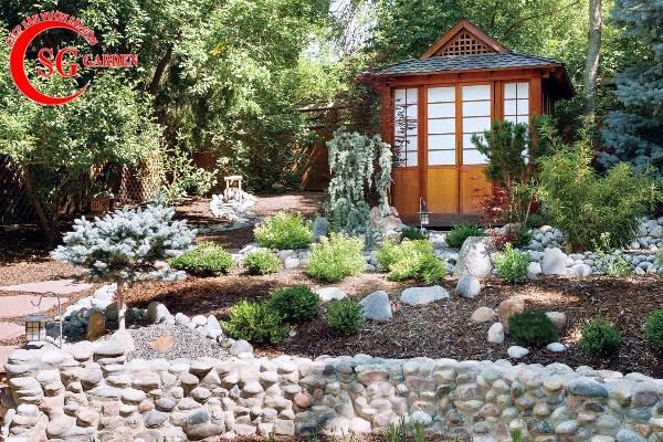 sân vườn trước nhà phong cách Trung Quốc 2