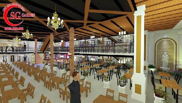 thiết kế nhà hàng sân vườn châu âu 7