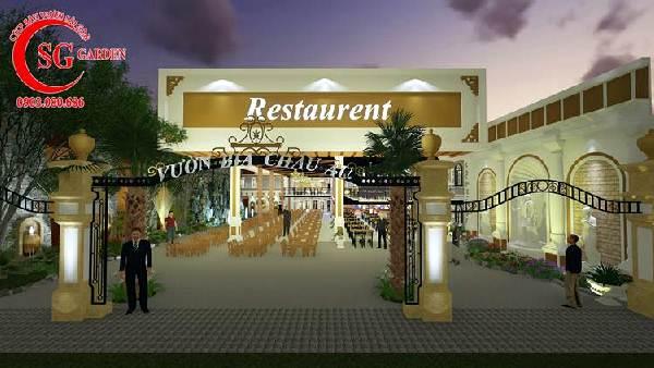 thiết kế nhà hàng sân vườn châu âu 1