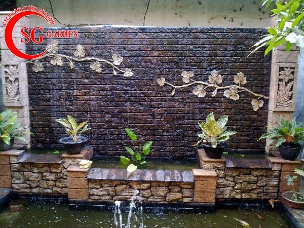 tiểu cảnh thác nước tren tường 1