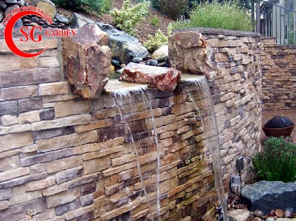 tiểu cảnh thác nước tren tường 4