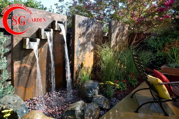 tiểu cảnh thác nước tren tường 5